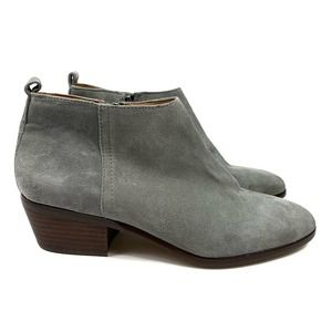 J. Crew Gray Almond Toe Suede Ankle Booties Size 9